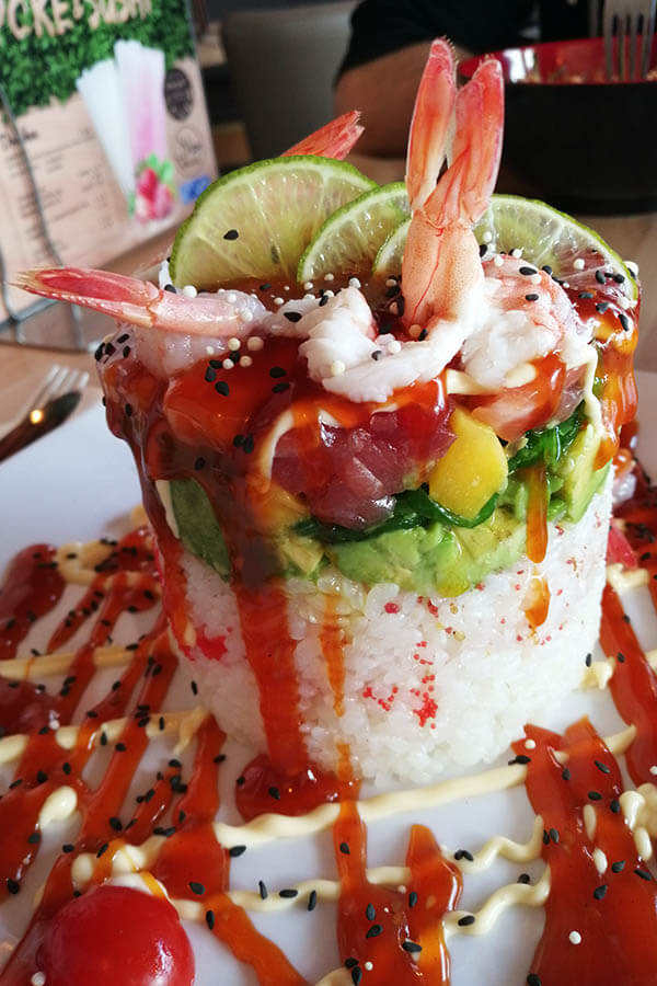 Poke Tower from Poke & Sushi Restaurant in the Hague. This crazy version of poke is worth the trip!